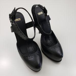 ASOS Black Leather Platform Stilletto T Strap Heel